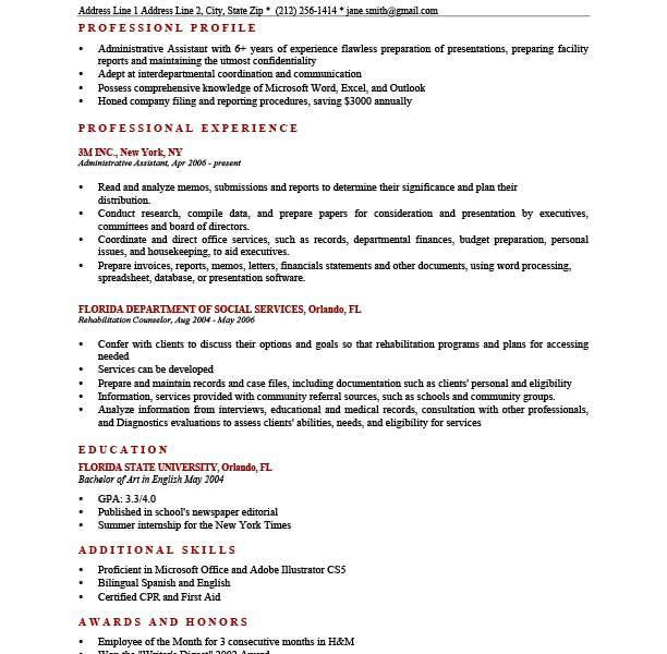 Profile Example For Resume. Profile Resume Examples Professional ...