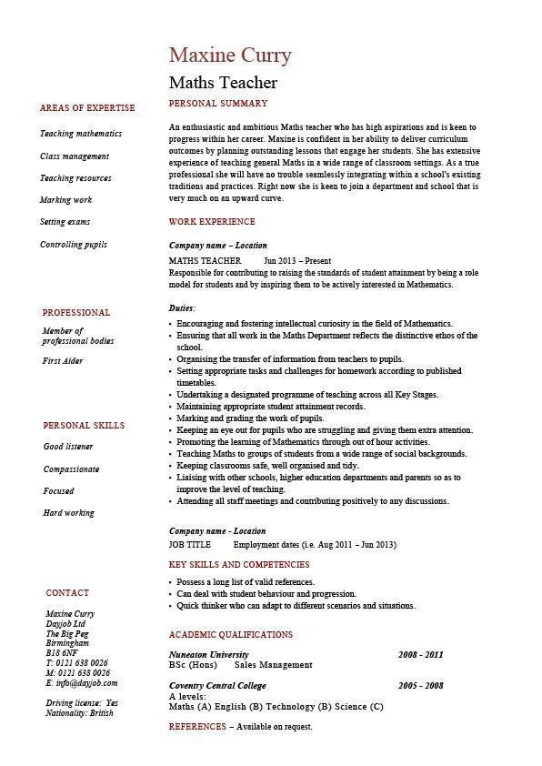 Maths teacher CV template, maths teacher job, mathematics, key ...