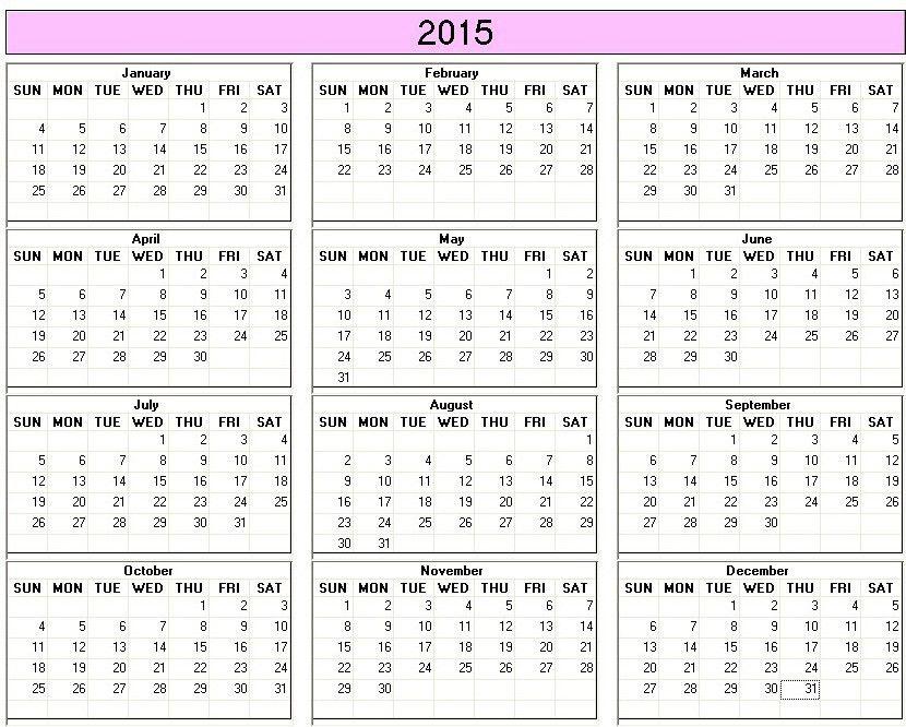 annual calendar 2015 - Template