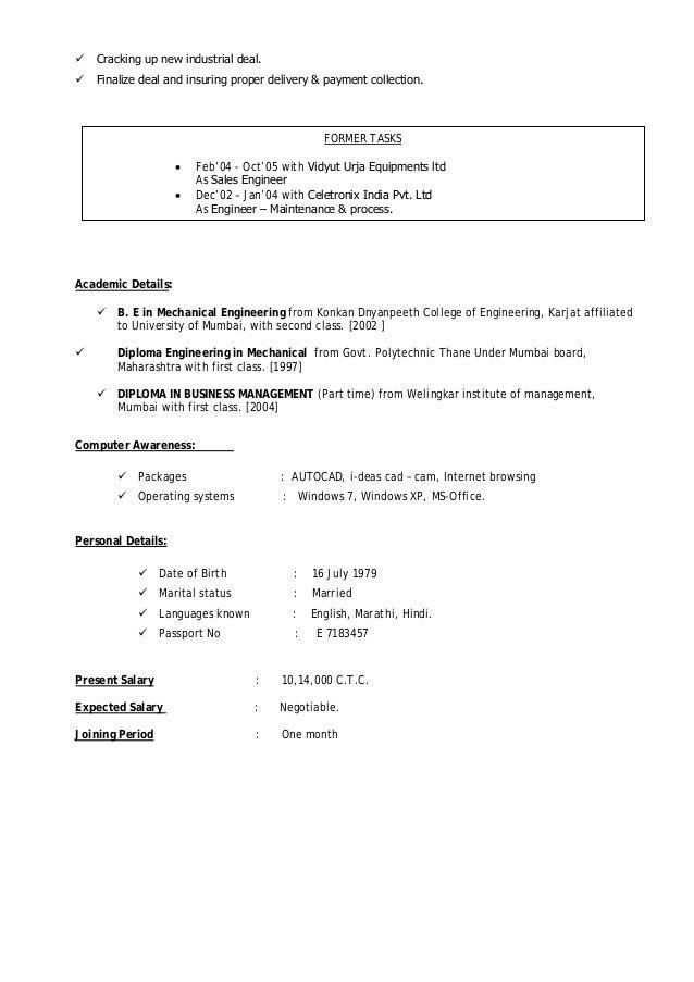 Vishal Shelke CV -- Sales professional in Building Material & constr…
