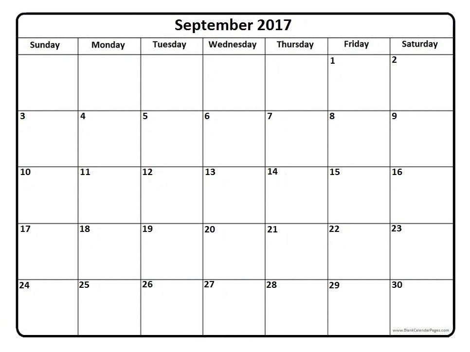 September 2017 Printable Calendar | Printable Calendar 2017 Templates