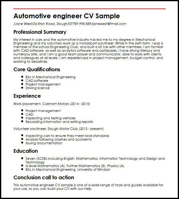 Automotive Engineer CV Sample | MyperfectCV