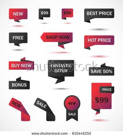 Vector Stickers Price Tag Banner Label Stock Vector 552353755 ...