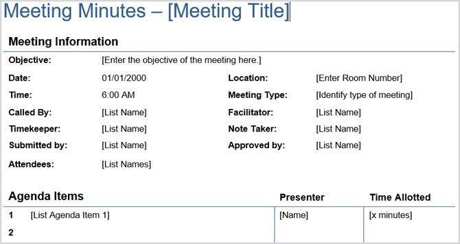 Meeting Protocol Template. meeting agenda templates free printable ...