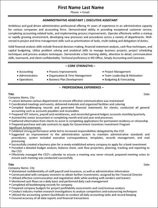 Professional Administrative Assistant Resume Samples : Vinodomia