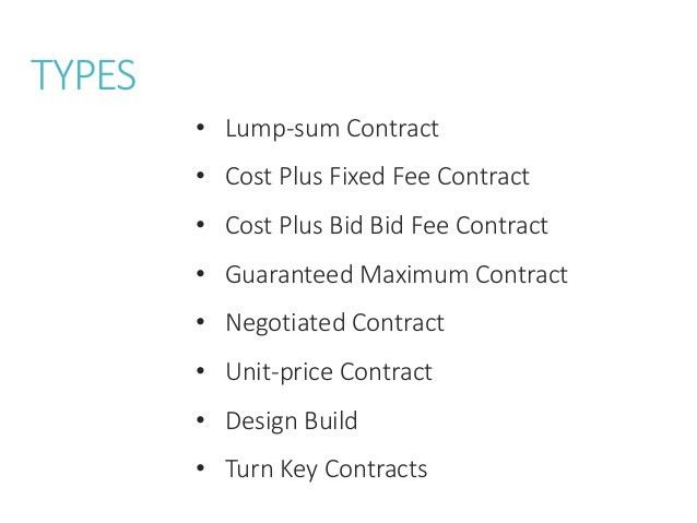 Types of Contract in Construction Management