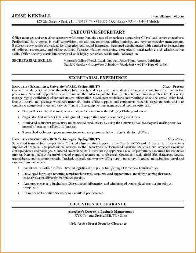 Download Resume For Secretary | haadyaooverbayresort.com