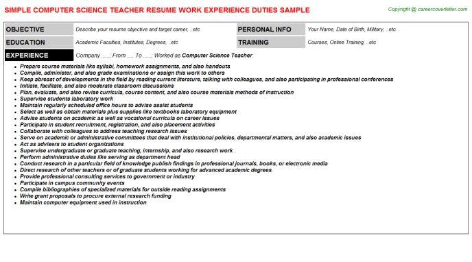 Computer Science Teacher Job Title Docs
