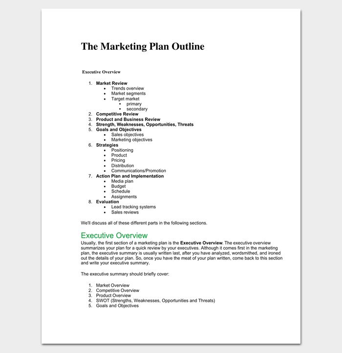 Marketing Plan Outline Template - 16+ Examples For Word, PDF Format