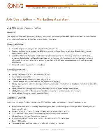 Marketing/Events Intern – Fall 2010 Job Description - The ...