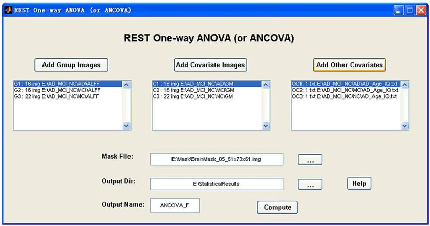 The ''REST One-way ANOVA (or ANCOVA)'' GUI. This shows an example ...