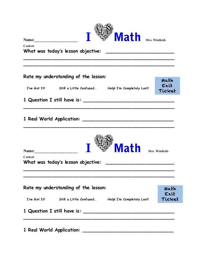Math exit ticket