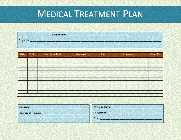 Treatment Plan Template | Formsword: Word Templates & Sample Forms
