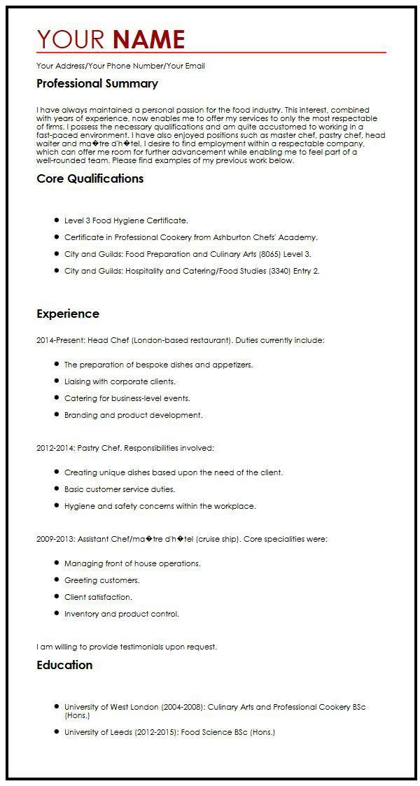 CV Example with a Personal Statement | MyperfectCV