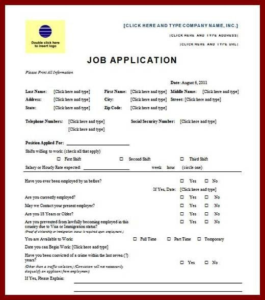 9 Job Application Form Template Word Format | sendletters.info