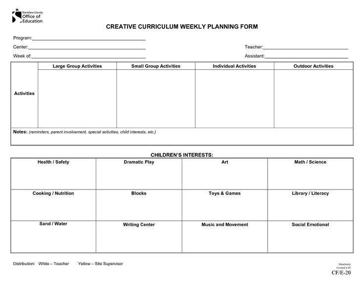 Creative Curriculum Lesson Plan Template | Best Template Examples