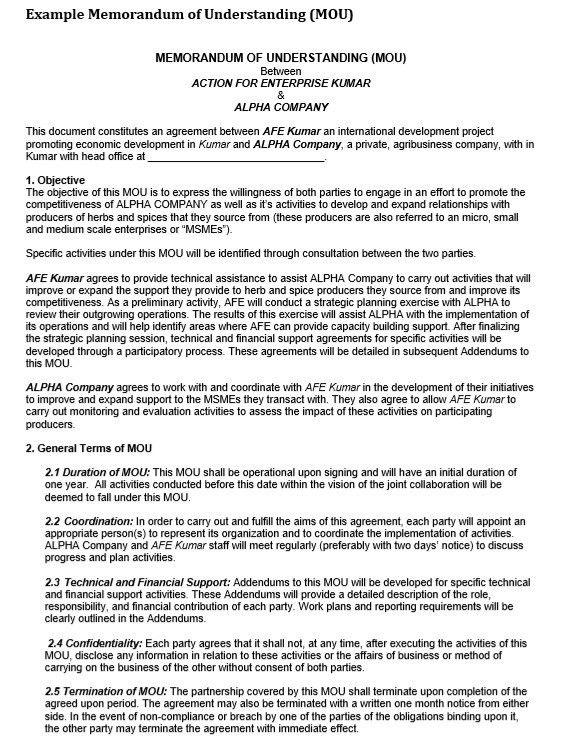 9 Free Sample Memorandum Agreement Templates – Printable Samples