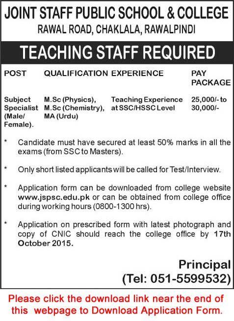 Joint Staff Public School and College Rawalpindi Jobs 2015 October ...