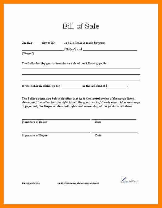 4+ car bill of sale template word | cover title page