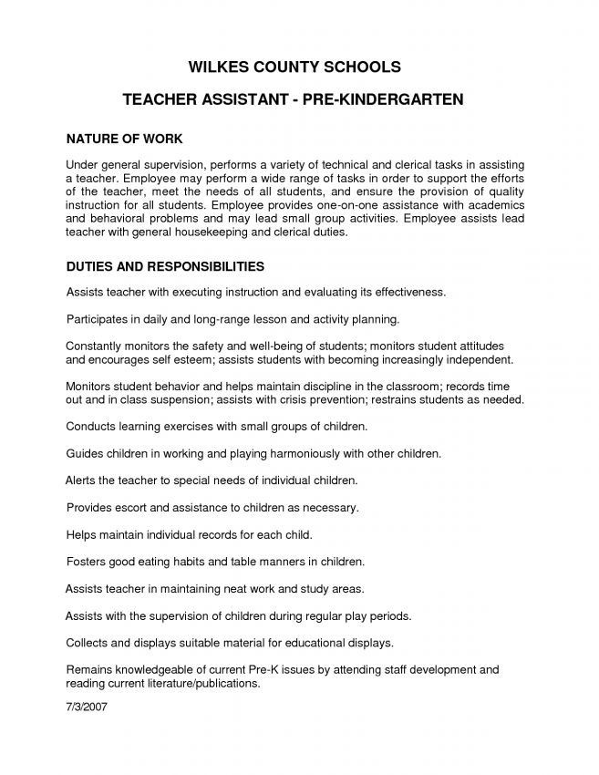 11 Kindergarten Teacher Resume Resume preschool teacher resume ...