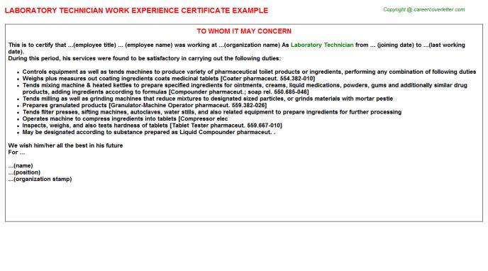 Laboratory Technician Work Experience Certificate