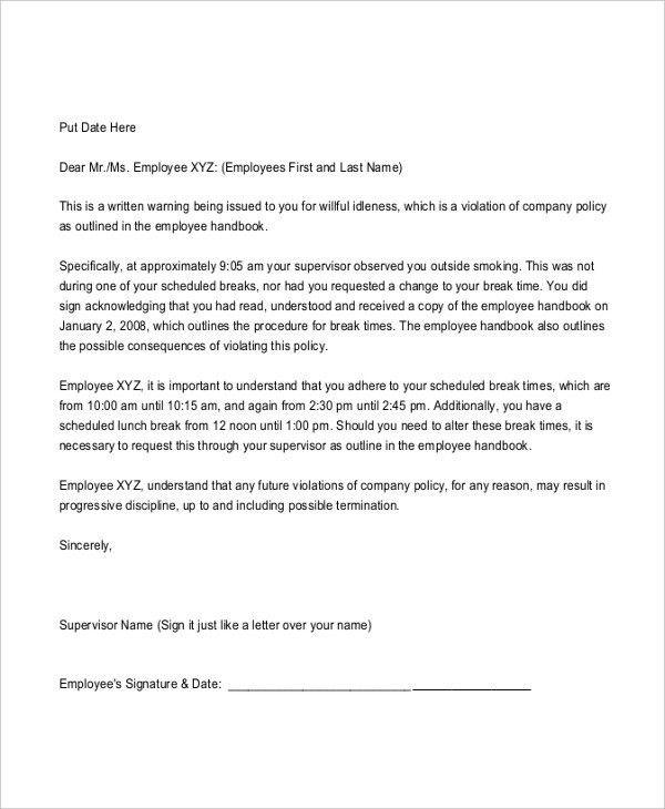 free employee written warning template