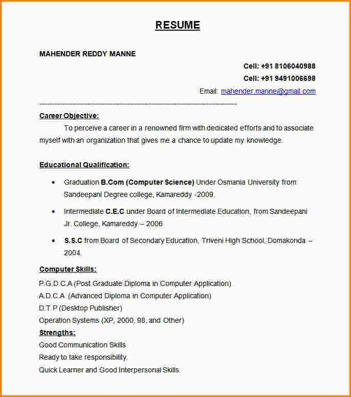 6+ resume formal format | paradochart