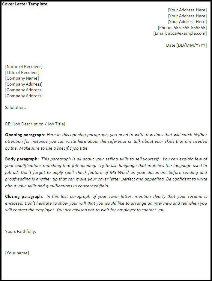 cover letter template word in Cover Letter Template Word - My ...