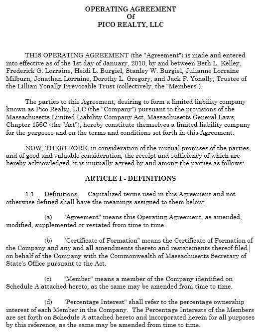 13 Free Sample Operating Agreement Templates – Printable Samples
