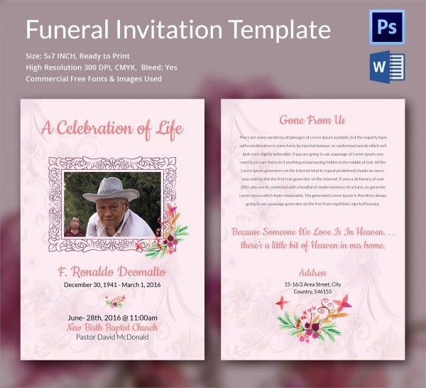 Memorial Announcement Template. memorial service invitation ...
