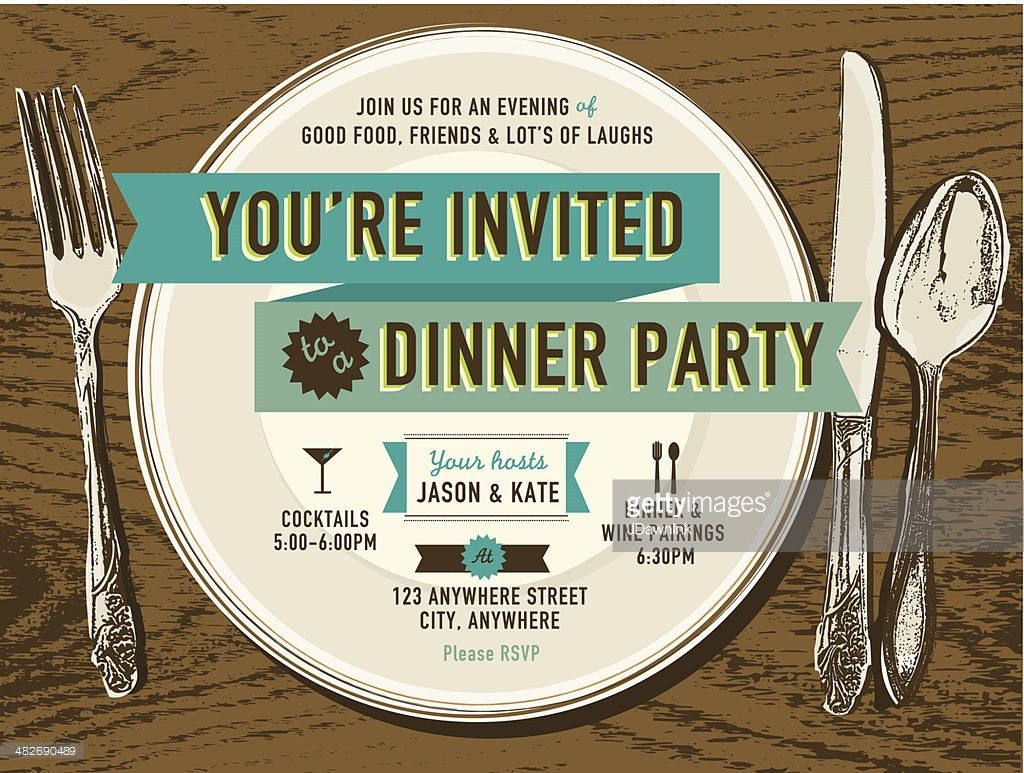 Vertical Elegant Dinner Party Invitation Design Template Vector ...