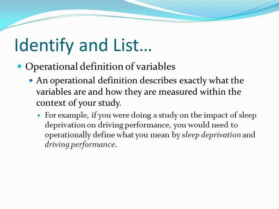 Identify and List… Theory behind the study Aim of study. - ppt ...