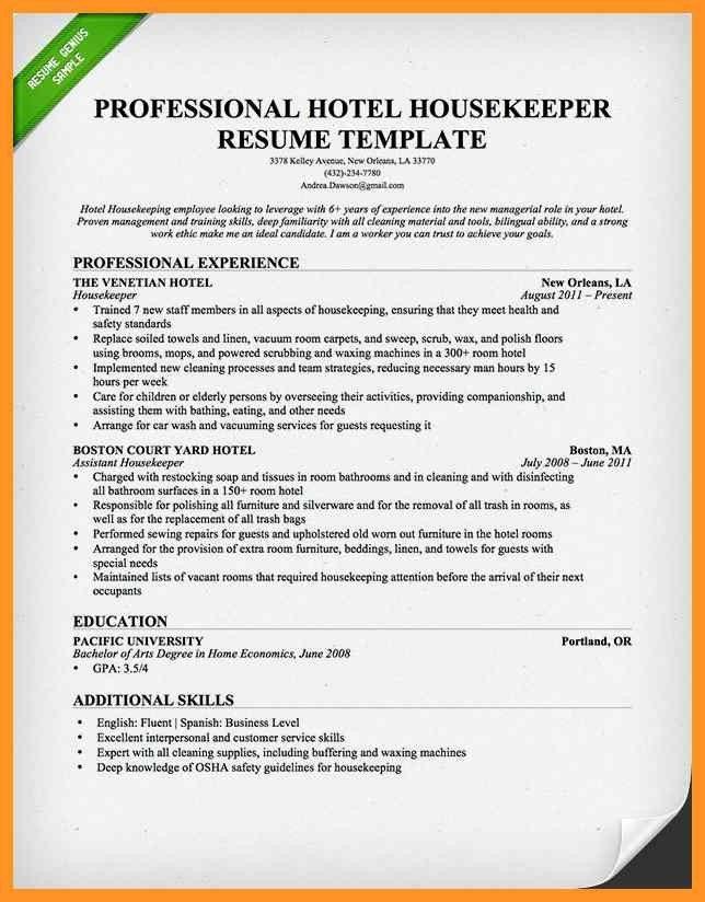 resume samples for housekeeping jobs | bio letter format