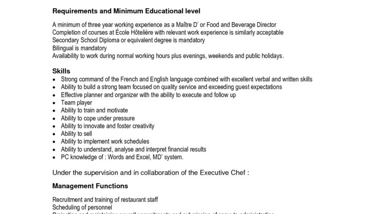 Restaurant Manager Job Description Sample requirements and minimum ...