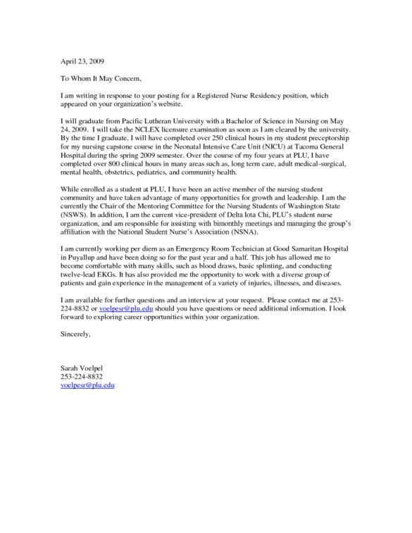 Cover Letter Sample for Registered Nurse Residency : Vntask.com