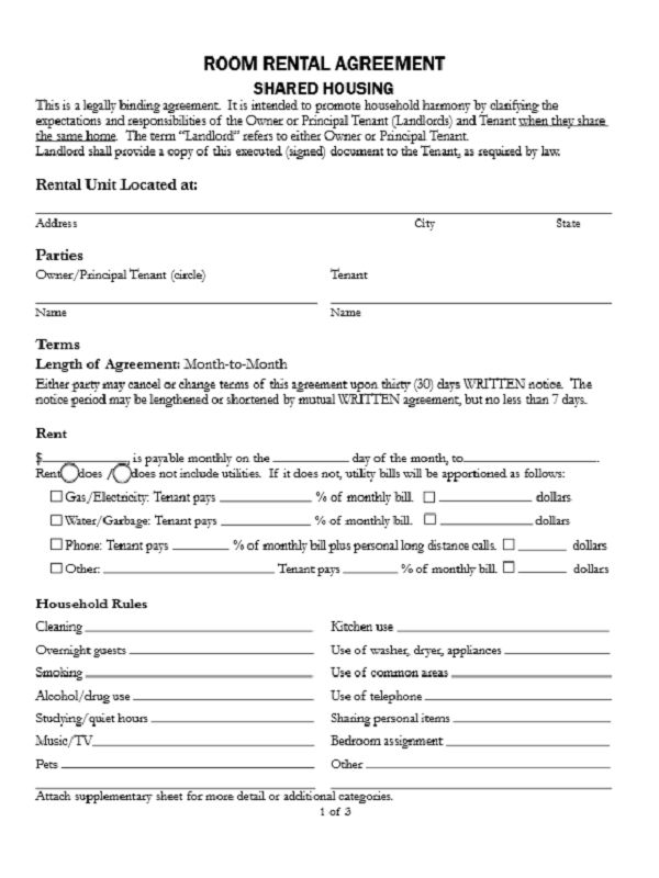 Room Rental Agreement Form - Free Job Application Form