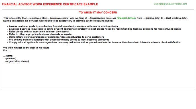 Financial Advisor Work Experience Certificate