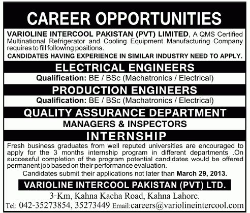 Engineers Job, Varioline Intercool Pakistan Job, Electrical ...