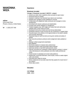 Broadcast Journalist Resume Sample | Velvet Jobs