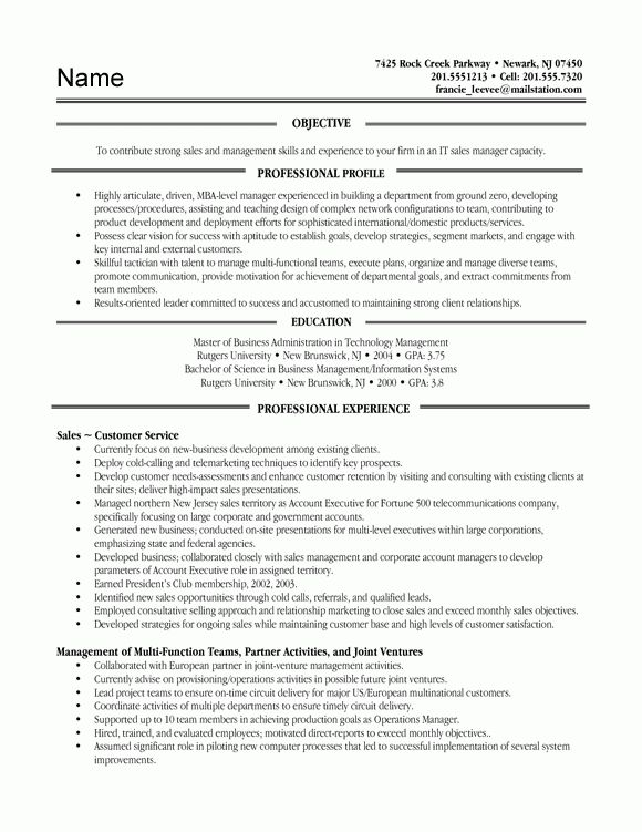 chronological resume example project manager. resume ...