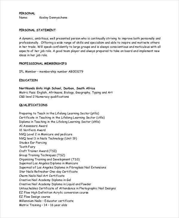 Manicurist Resume Templateb - 6 Free Word, PDF Document Downloads ...