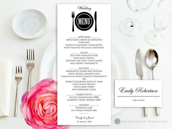 Printable Wedding Menu Free Place Card Template Instant