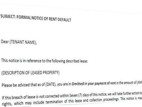 Formal Notice Of Default In Rent Tenancy Agreement Template ...