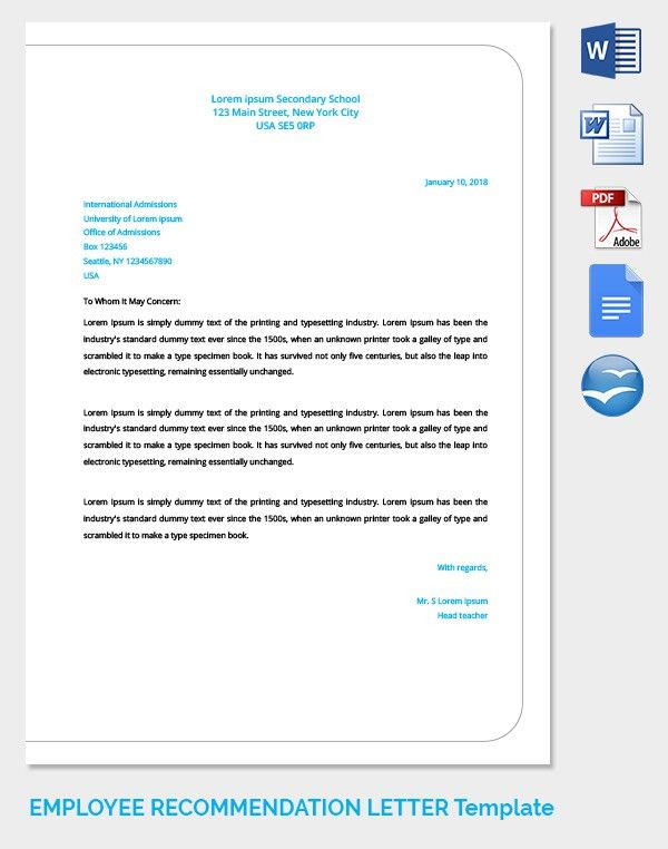 Letter Of Recommendation Employee Pdf - Compudocs.us
