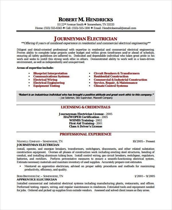 Sample Electrician Resume Template - 7+ Free Documents Download in ...
