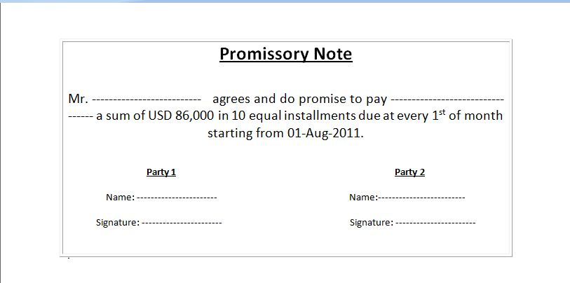 Sample of Promissory Note Format in MS WORD | WordXerox