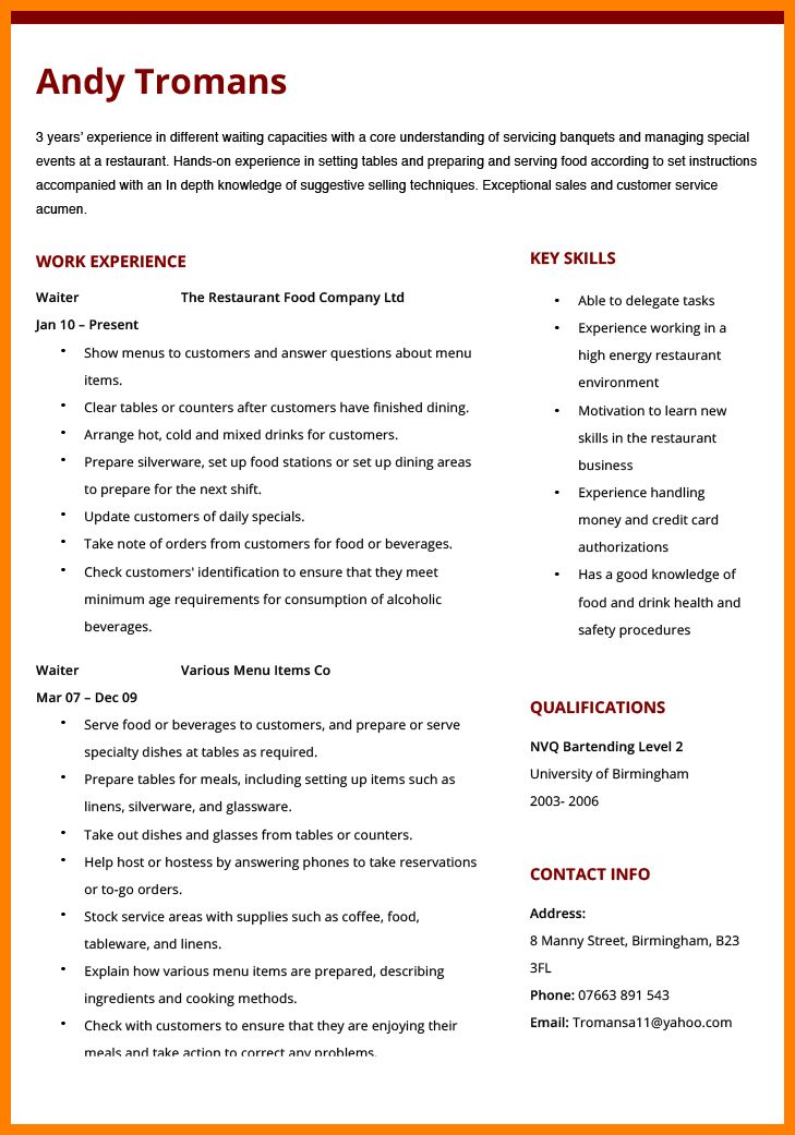 8+ waiter cv sample word | resume pictures