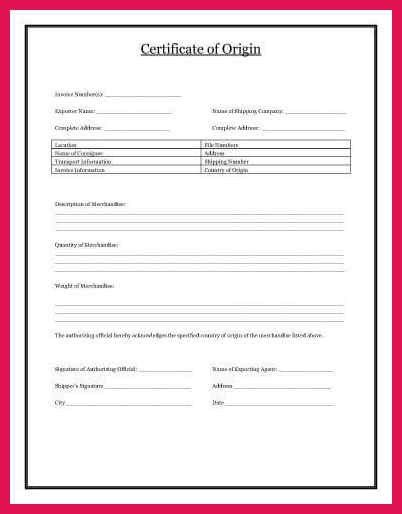 certificate of origin template | sop examples