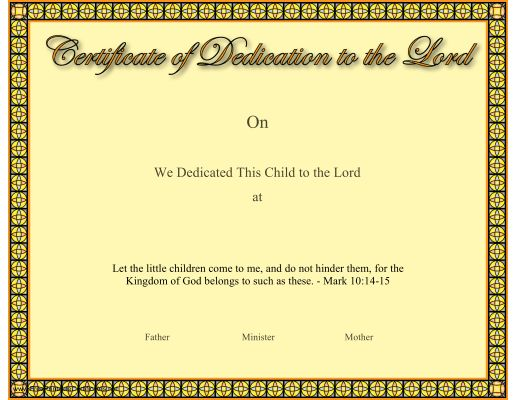 This Christian certificate of a baby or child dedication to the ...