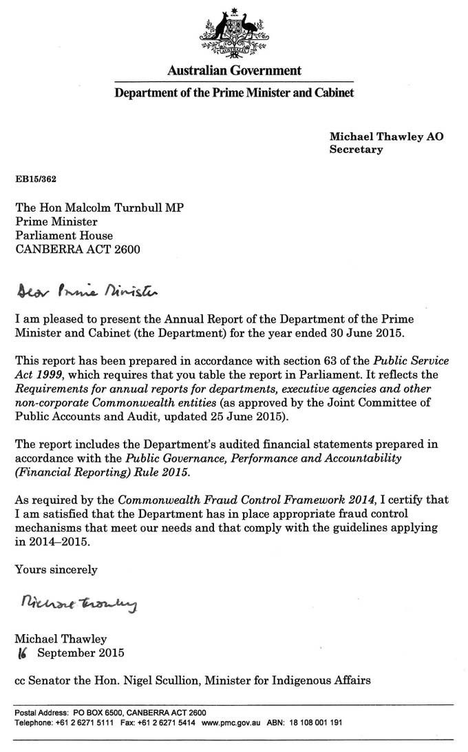 Letter of transmittal | Department of Prime Minister and Cabinet ...